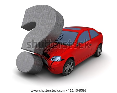 3d illustration of car collision with question mark, over white background - stock photo