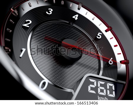 3d illustration of car tachometer. High speed concept - stock photo