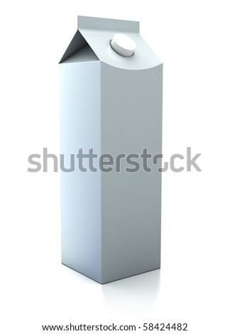 3d illustration of cardboard milk pack, over white background