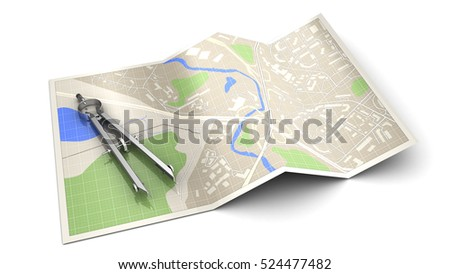 3d illustration of cartography concept or icon, over white background