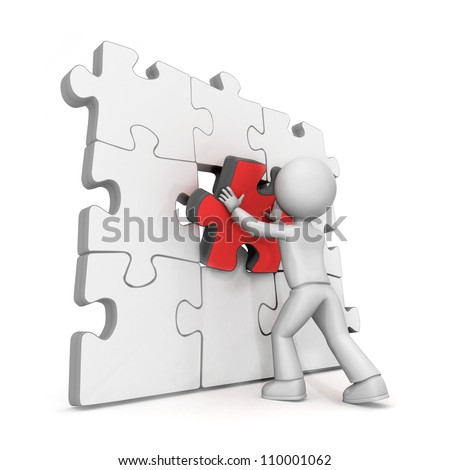 3d illustration of cartoon figure putting last piece in jigsaw puzzle wall, white background. - stock photo