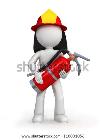 3d illustration of cartoon fire fighter or fireman with helmet and extinguisher, white background. - stock photo