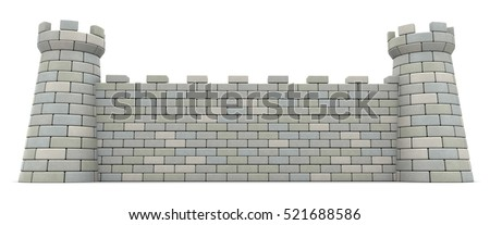 3d illustration of castle wall over white background