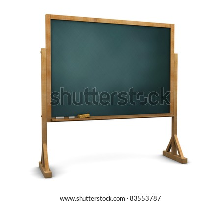 3d illustration of chalkboard stand over white background - stock photo