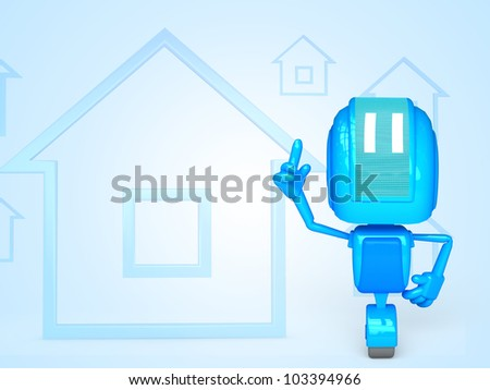 3D illustration of character with objects for use in presentations, manuals, design, etc. - stock photo