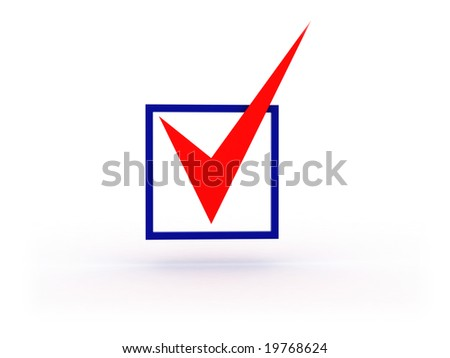 3d illustration of checkbox with red tick on white background