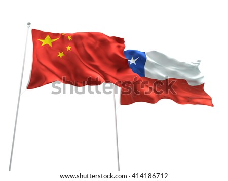 3D illustration of China & Chile Flags are waving on the isolated white background