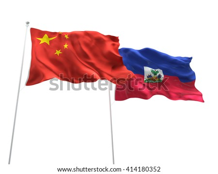 3D illustration of China & Haiti Flags are waving on the isolated white background