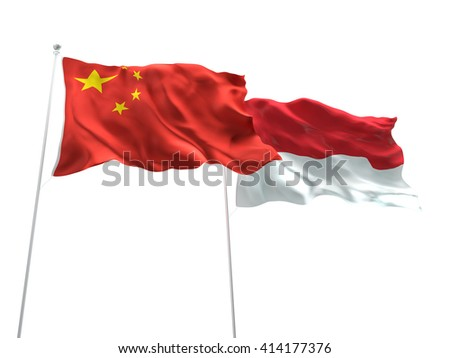 3D illustration of China & Monaco Flags are waving on the isolated white background
