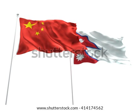 3D illustration of China & Nepal Flags are waving on the isolated white background - stock photo