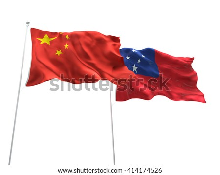 3D illustration of China & Samoa Flags are waving on the isolated white background