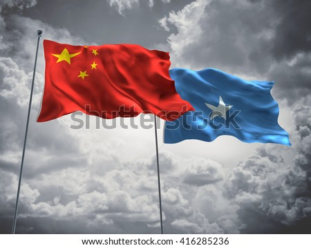 3D illustration of China & Somalia Flags are waving in the sky with dark clouds  - stock photo