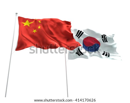 3D illustration of China & South Korea Flags are waving on the isolated white background - stock photo