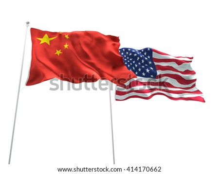 3D illustration of China & United States of America Flags are waving on the isolated white background - stock photo