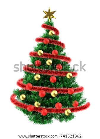 3d illustration of Christmas tree over white with golden balls