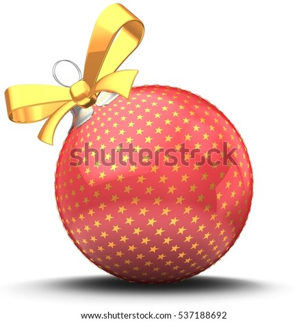 3d illustration of classic Christmas ball over white background with stars ornament and yellow ribbon