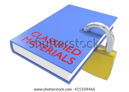 "3D illustration of ""CLASSIFIED MATERIALS"" script under a 3D model of the world, isolated on white. Earth concept. - stock photo"