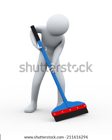 3d illustration of cleaner man with floor wiper at work. 3d rendering of human people character. - stock photo