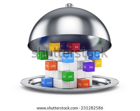 3d illustration of cloch domain names concept. Isolated on white background  - stock photo
