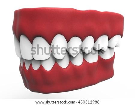 3 D Illustration Closed Gum Teeth Tongue Stock Illustration ...