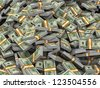 3d illustration of closeup of heap of dollar packs money - stock photo