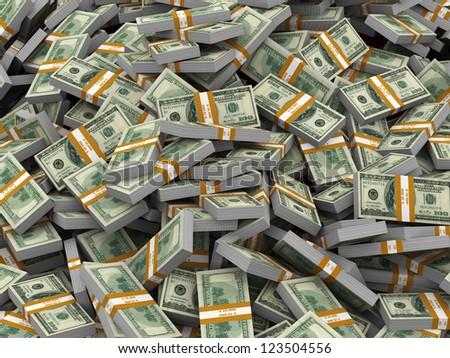 3d illustration of closeup of heap of dollar packs money - stock photo