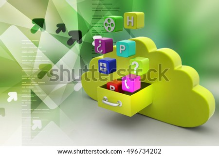3d illustration of Cloud computing concept