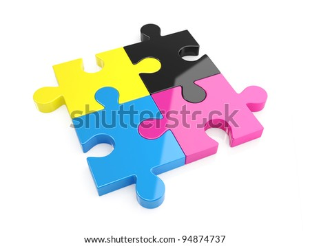 3d illustration of CMYK puzzle - stock photo