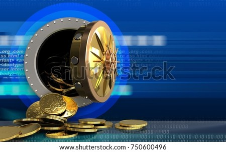 3d illustration of coins storage over cyber background