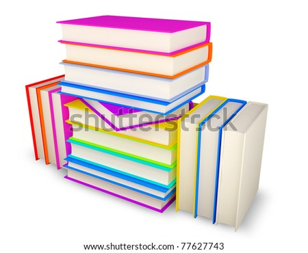 3D illustration of color books on white background. clipping path