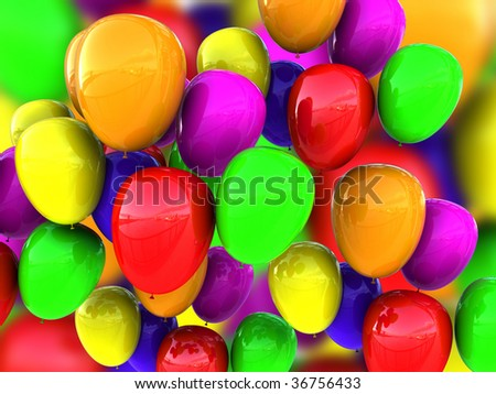 3d illustration of colorful balloons background