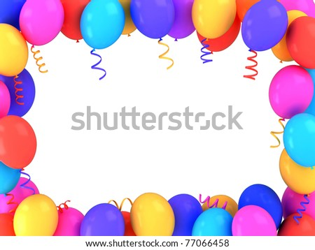 3d illustration of colorful balloons frame