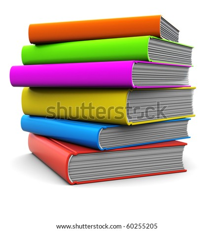 3d illustration of colorful books stack over white background
