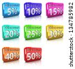 3d illustration of colorful discount icons over white background - stock vector