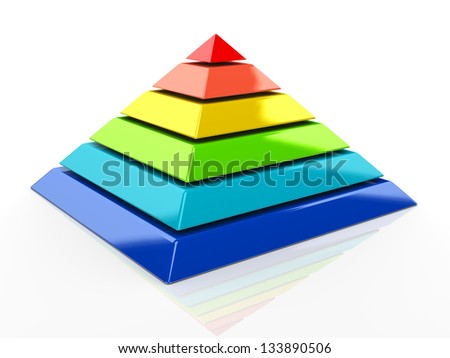 3d illustration of colorful pyramid