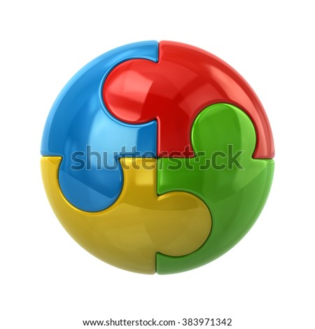 3d illustration of colorful spherical puzzle icon isolated on white background - stock photo