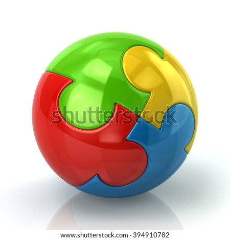 3d illustration of colorful spherical puzzle isolated on white background - stock photo
