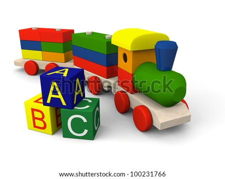 3D illustration of colorful wooden toy train and blocks with letters of alphabet