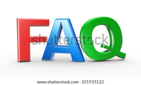 3d illustration of colorful word text faq frequently asked question - stock photo