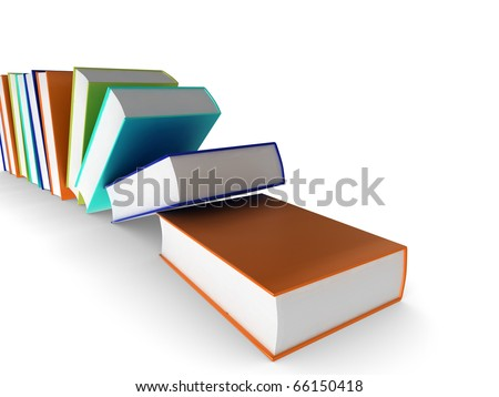 3d illustration of coloured (colored) books falling over