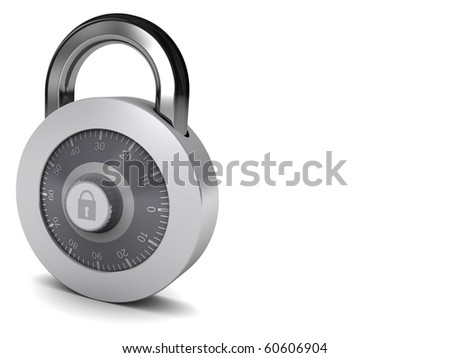 3d illustration of combination lock at left side of white background - stock photo