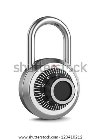 3d illustration of combination padlock isolated on white background - stock photo