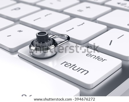 3d illustration of combination padlock on the computer keyboard. Security concept - stock photo