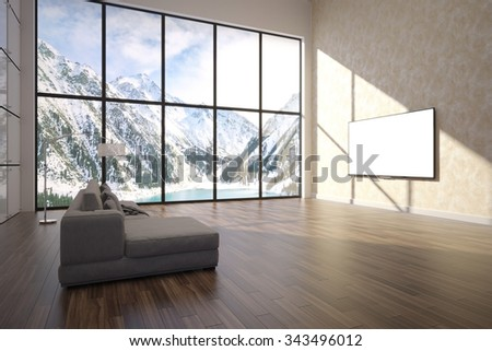 3d illustration of comfortable contemporary interior with amazing scenery view of mountains - stock photo