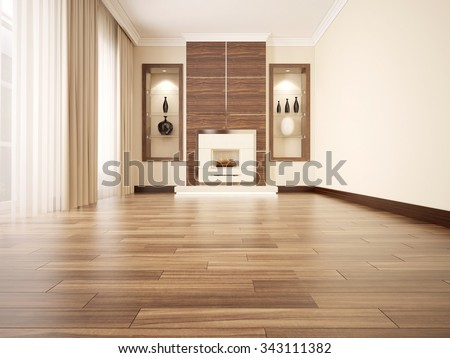 3d Illustration Of Comfortable Contemporary Living Room With Fireplace. Low  Angle View
