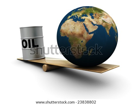 3d illustration of comparison of earth and oil