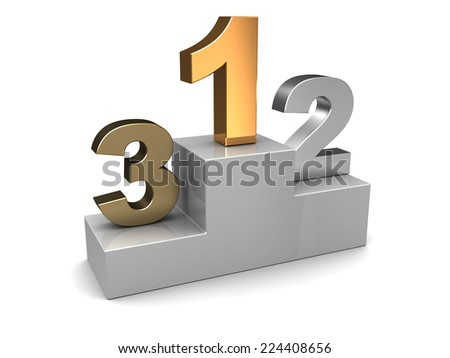 3d illustration of competiton places numbers, over white - stock photo