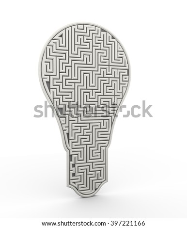 3d illustration of complicate maze bulb design - stock photo