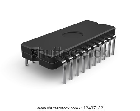 3d illustration of computer chip isolated on white background - stock photo
