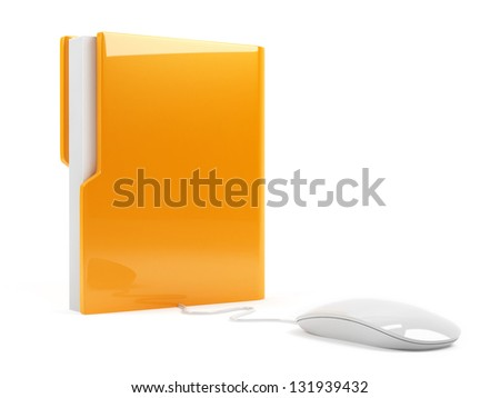 3d illustration of computer folder with mouse. Isolated on white background - stock photo